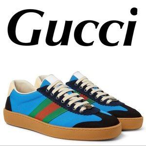 Gucci Ace Nylon Classic Web Sneakers GG Size 8.5